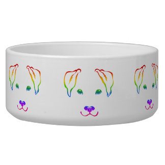 Unique Hand Drawn Rainbow Dog Large Pet Bowl