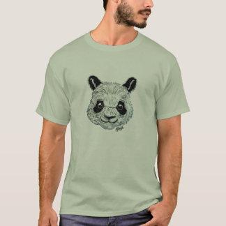 Unique Hand Painted Panda Art Men's Green T-shirt