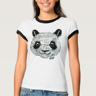 Unique Hand Painted Panda Art Women's T-shirt