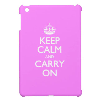 Unique Keep Calm And Carry On Girly Bubblegum Pink iPad Mini Cases