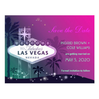 Unique Las Vegas Strip Tropical Wedding Postcards