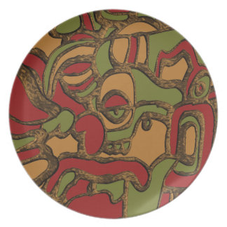 Unique Mayan Hieroglyphs Design Plate