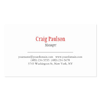 Unique Minimal Classical White Red Business Card