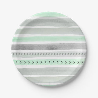 Unique Mint Gray Watercolor Stripes and Arrows Paper Plate