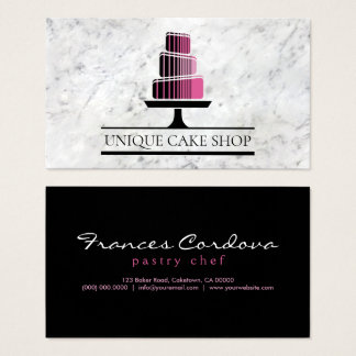 Unique Modern Geometric Tiered Cake Marble Bakery Business Card