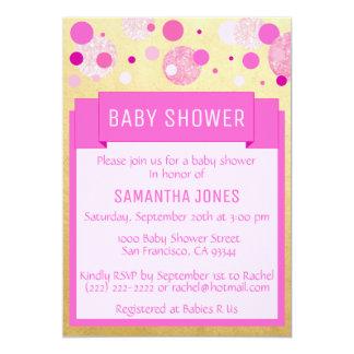 Unique Modern Pink Gold Girl Baby Shower Sprinkle Card
