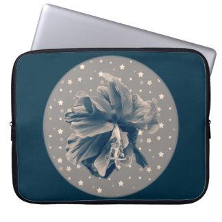 Unique monochrome blue hibiscus on stars laptop sleeve