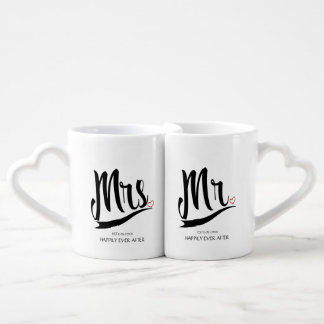 Unique Mrs. and Mr. Typography Wedding Custom Coffee Mug Set