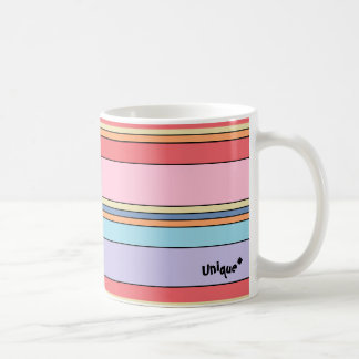 Unique mug with colorful linear motif