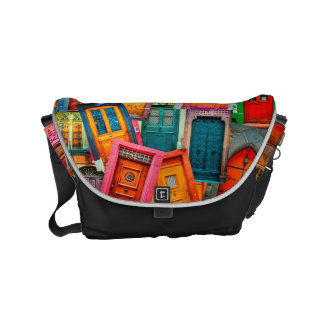 Unique Old Doors Colorful Modern Artistic Courier Bags