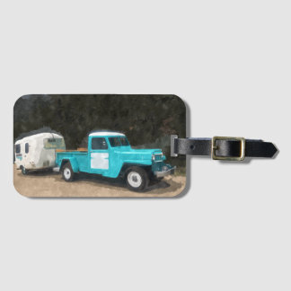 Unique Old Truck Watercolor Print Luggage Tag