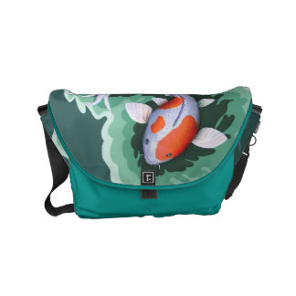 Unique Orange and White Spotted Koi Courier Bags