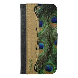 Unique Peacock Feathers Golden Ornament Monogram iPhone 6/6s Plus Wallet Case