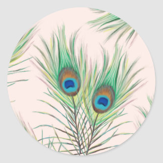 Unique Peacock Feathers Pattern Classic Round Sticker