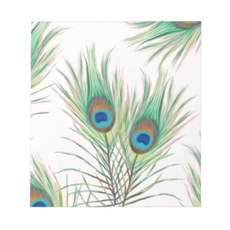 Unique Peacock Feathers Pattern Notepad