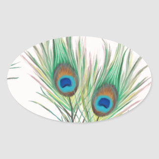 Unique Peacock Feathers Pattern Oval Sticker