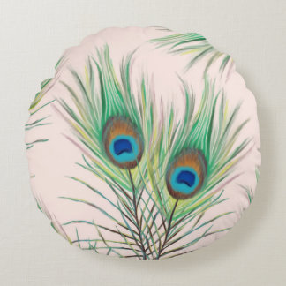 Unique Peacock Feathers Pattern Round Pillow