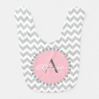 Unique Personalized Baby Pink Chevron - Diamonds Bib