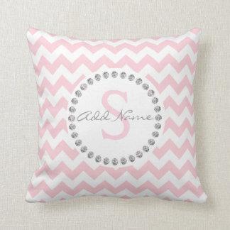 Unique Personalized Baby Pink Chevron - Diamonds Throw Pillow