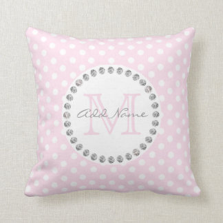 Unique Personalized Baby Pink Polka Dot - Diamonds Throw Pillow
