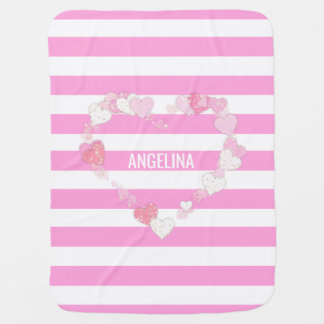 Unique Personalized Cute Baby Girl Pink Heart Swaddle Blanket