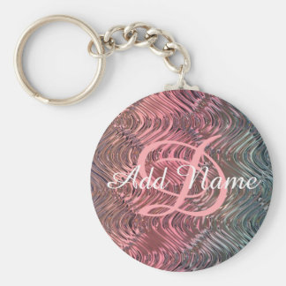 UNIQUE Personalized Monogrammed Pink Glass Basic Round Button Keychain