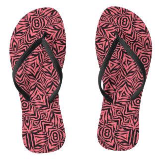 Unique Pink Abstract Flip Flops
