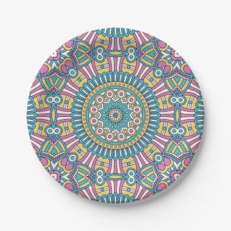 Unique Pink aqua floral Boho hippy chic pattern Paper Plate