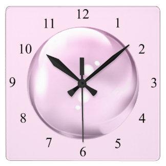 Unique Pink Bubble Clock Black Numbers