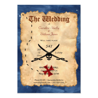 Unique Pirate Skull and Sword Wedding Invitation