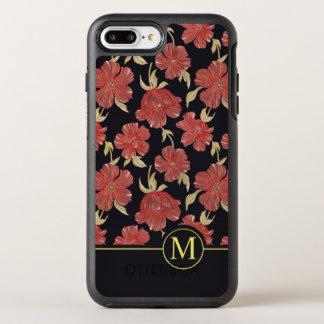 Unique Red Floral Blossoms Monogram   Phone Case