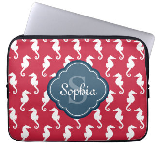Unique Red Seahorse Pattern Blue Monogram Laptop Sleeve