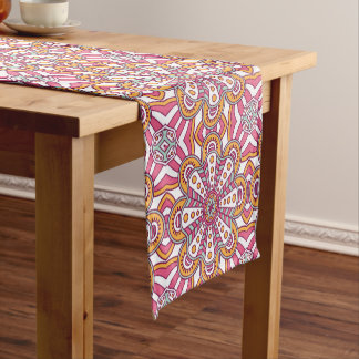 Unique red white floral Boho hippy chic pattern Short Table Runner