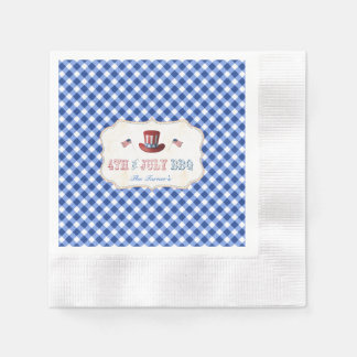 Unique Rustic Blue Gingham 4TH OF JULY BBQ Paper Napkin