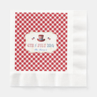 Unique Rustic Red Gingham 4TH OF JULY BBQ Disposable Napkin