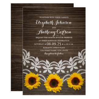 Unique rustic sunflower lace wedding country style card