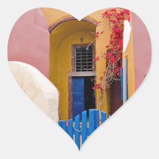 Unique Santorini architecture Heart Sticker