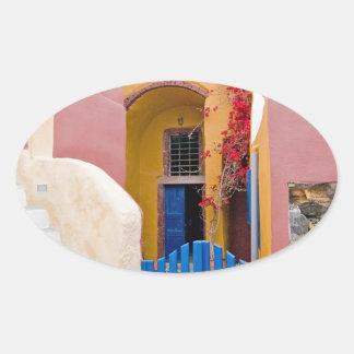 Unique Santorini architecture Oval Sticker