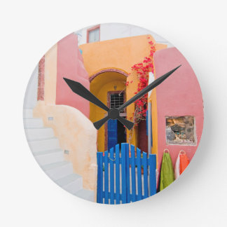 Unique Santorini architecture Round Clock