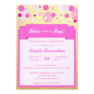 Unique SHE's READY TO POP Pink Gold Baby Shower Card