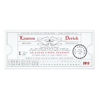 Unique Ticket Punch Card Tea Length Invitation