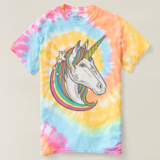 Unique Tie Dye Pastel Unicorn 70s Style T-shirt