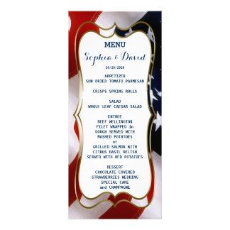 Unique, trendy USA flag Wedding Menu Custom Rack Card Template