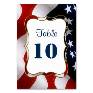 Unique, trendy USA flag Wedding Table Numbers