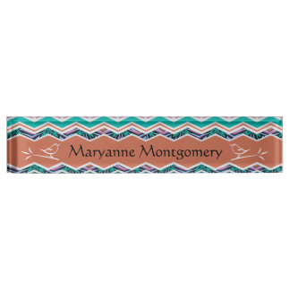 Unique Turquoise and Brown Birds Zigzag Pattern Desk Name Plates