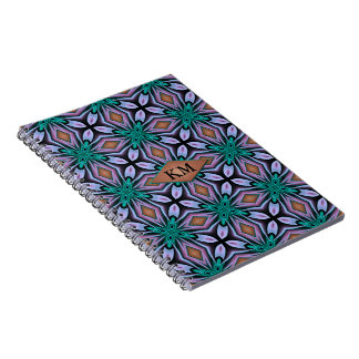 Unique Turquoise and Purple Jewel Fractal Monogram Notebook