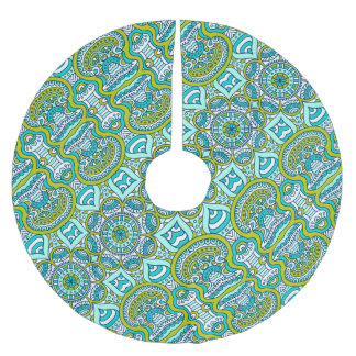 Unique turquoise floral Boho hippy chic pattern Brushed Polyester Tree Skirt