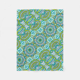 Unique turquoise floral Boho hippy chic pattern Fleece Blanket