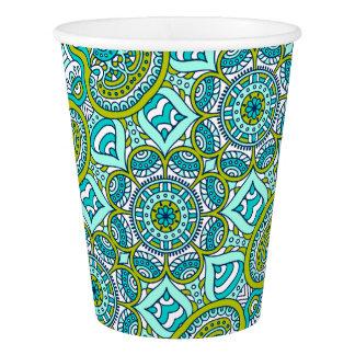 Unique turquoise floral Boho hippy chic pattern Paper Cup