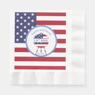 Unique USA flag 4th of July Party I DO BBQ Disposable Napkins